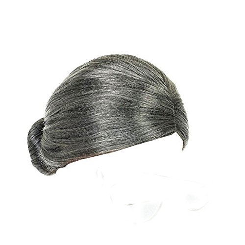 [Adults Grey Old Lady Granny Bun Wig Fancy Dress Accessory] (Old Wigs)