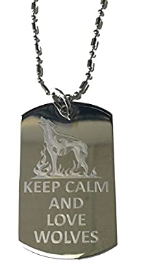 Keep Calm and Love Wolves - Military Dog Tag, Luggage Tag Metal Chain Necklace