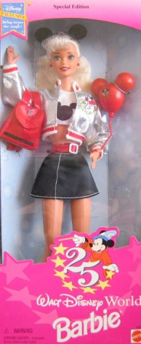Barbie 1996 Special Edition Walt Disney World - Exclusive 25th Anniversary Disney Barbie with T-Shirt, Skirt, Jacket, Belt, Backpack, Mickey Mouse Ears,