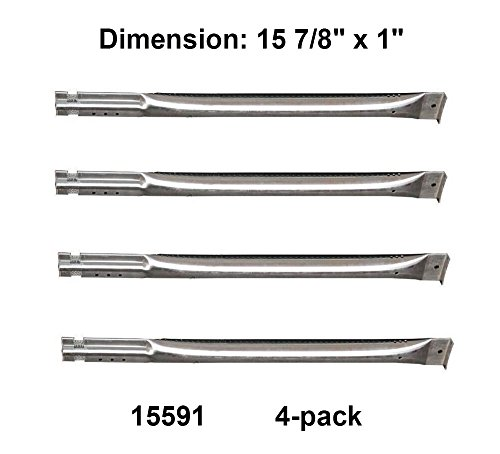 15591 (4-pack) Universal Stainless Steel Tube Burner Replacement for Charbroil, Charmglow, Sears Kenmore, Centro and Other Grills(15 7/8