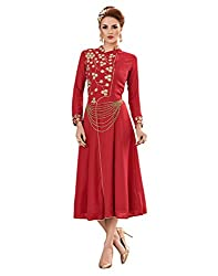 Surat Tex Red Color Embroidered Heavy 60 gm Georgette Stitched Dress-I298DS8003XL