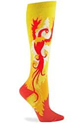 Sock It To Me Phoenix Knee High Socks, Yellow/Red, One size fits women's shoe sizes 5-11