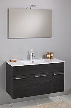 Mobile Arredo Bagno 100cm sospeso disp. in 5 colori con lavabo in ceramica e specchio Mobili