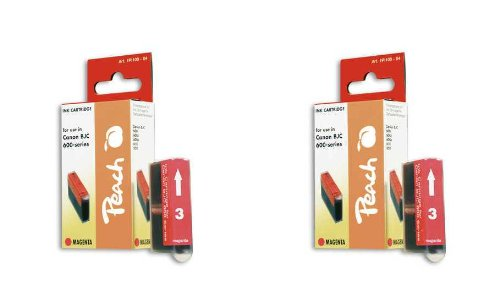 Peach C201 m Doppelpack Tintenpatronen kompatibel zu Canon, Xerox, Apple BJI-201 m, magenta