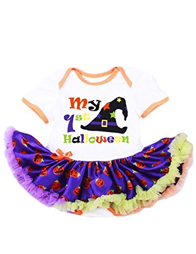 LaLaMa Baby Girl Costume My First Halloween Pumpkin Onesie Tutu Dress Outfits (Goblin Outfit)