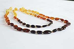 The Art of CureTM Baltic Amber Teething Necklace - Rainbow Mom & Baby Set - (Unisex) - Certified Baltic Amber Baby Teething Necklace Highest Quality Guaranteed- Anti Inflammatory, Drooling & Teething Pain. Easy to Fastens with a Twist-in Screw Clasp Mothers Approved Remedies!