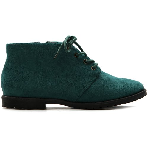 Ollio Women's Flat Shoe Classic Lace Up Zip Faux Suede Oxford(9 B(M) US, Dark Green)