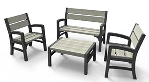 Keter - lounge set, WLF, colore: grafite/grigio brunastro, 67x 62x 89,5cm, 17205049