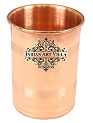 IndianArtVilla 3.0 X 2.3 Pure Copper Small Glass Tumbler 150 ML for use Home Hotel Restaurant Good Health Benefit Yoga Ayurveda