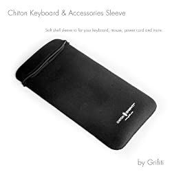 Grifiti Chiton Slim 12 Keyboard Sleeve for Apple® Wireless Keyboard, Anker bluetooth, Macally, Logitech bluetooth, GYMLE, Gear Head, Genius, SIIG, Solidtek, Perixx, Verbatim, HP and other 12 Inch Slim Keyboards and Mouse Pocket