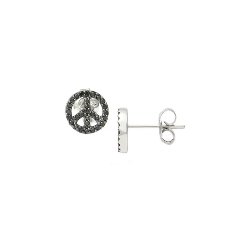 48f240ba7beb3 14K White Gold Peace Sign Black Diamond Stud Earrings Jewelry on ...