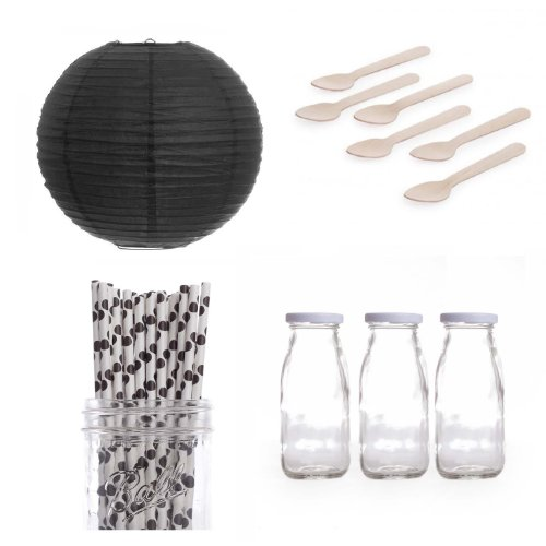 Dress My Cupcake Lanterns Dessert Table Party Kit, Includes Vintage Glass Milk Bottles With Black Polka Dot Straws front-522883