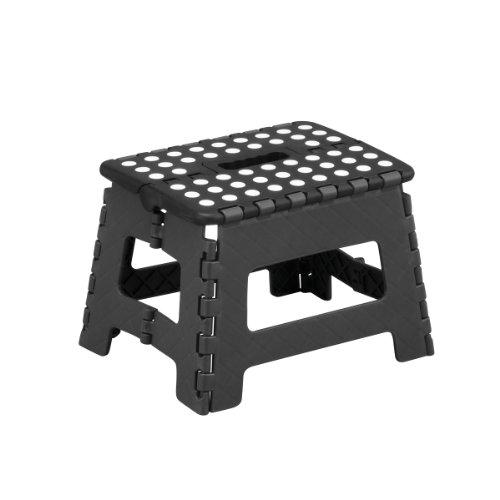 Zeller 99159 - Taburete plegable, 32 x 25 x 22 cm, color negro y gris