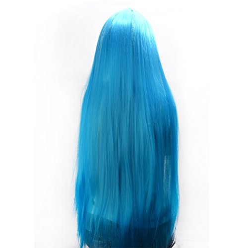 "DoRight 32"" 80cm Long Hair Straight Highlights Wigs Cosplay (32'':sky blue)"