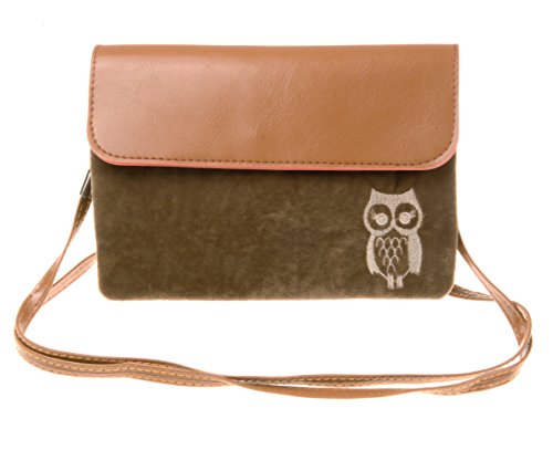 KISS GOLD(TM) Owl Print Horizontal Mini Leather Cellphone Pouch(Cofffee)