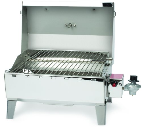 Camco 58145 Stainless Steel Portable Propane Gas Grill with Storage Bag