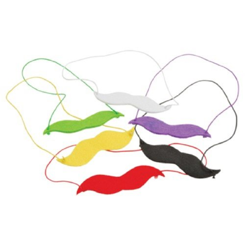 Set Of 12 Assorted Color Slip On Elastic Band Fake Felt Mustaches Moustaches
