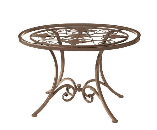 Cheap Garden Accent End Table Grill Center Glass Top in Brown Finish (B003INB0FK)