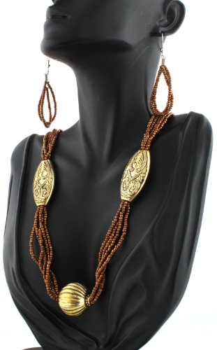 Ladies Brown with Gold Egyptian Style Earrings and Pendant Necklace Jewelry Set