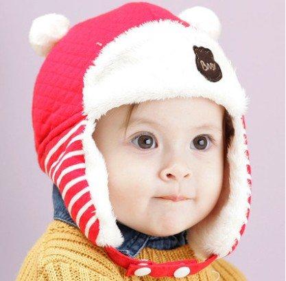 TIAN® - Nette Kinder Winter-Hippie Ohrenklappen-Mütze Lei Feng Cap 3504 Größe (48-50cm) - Red