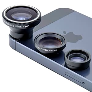 VicTsing Magnetic Detachable Fish-Eye Lens Wide Angle Micro Lens 3-in-1 Kits Black for iphone 5 5C 5S 4S 4 3GS ipad mini ipad 4 3 2 Samsung Galaxy S4 S3 S2 Note 3 2 1 Sony Xperia L36h L36i HTC ONE Smartphones with flat camera