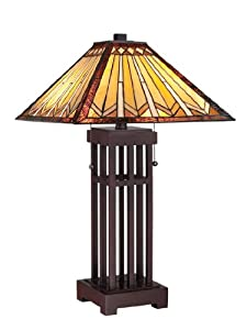 Quoizel TF1137T Tanner 2 Light Tiffany Table Lamp