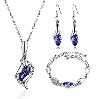 Valentine's Day Gift -'kiss of A Fairy'Womens Jewelry Set Swarovski Element Teardrop Crystal Pendant Necklace Bracelets & Earrings Sets