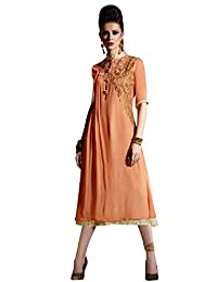 Shonaya Pink Colour Hand Work Georgette Stitched Kurti