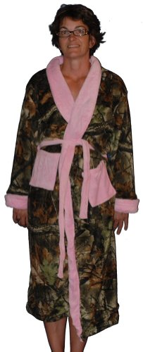 Pink Camo Robe Womens Coral Fleece Hunters Camoflage Long Wrap Bathrobe S M L Xl (Small) front-833262