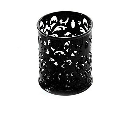 Lucoo Fashion Makeup Brush Vase Pattern Brush Pot Pen Holder Stationery Storage (Black)