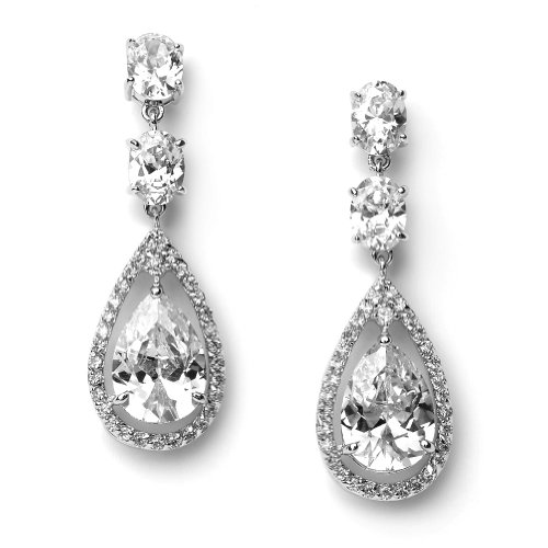 Bridal Earrings, Cubic Zirconia Tear Drop Rhinestone Wedding Earrings 1189
