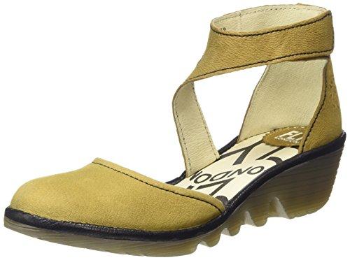Fly LondonPIAT - Scarpe con cinturino alla caviglia donna , Giallo (Yellow (Ochre/Black)), 38