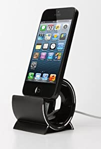 Sinjimoru HEAVY ALUMINUM Sync Stand Dock Cradle Holder for iPhone 5, 4, 4S, 3G, 3GS, iPod & iPad Mini (BLACK ALUMINUM)