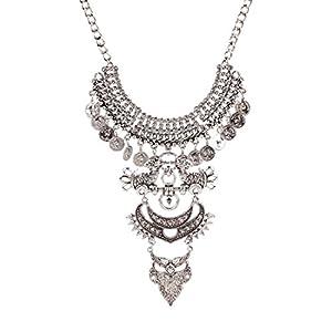 Qiyun Vintage Antique Silver Bib Chain Statement Crystal National Necklace Cristaux Nationale De L'Argent Vintage Collier