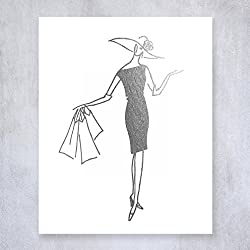 Shopping Gal Silver Foil Print Small Poster Shopper Lady Chic Girly Fashion Decor Unframed Wall Art 5 inches x 7 inches B34