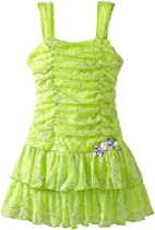 Amy Byer Girls 2-6X Glitter Two Tier, Green, 6