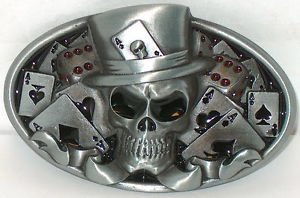 Human Skull Top Hat Poker Cards Ace Of Spades New Belt Buckle