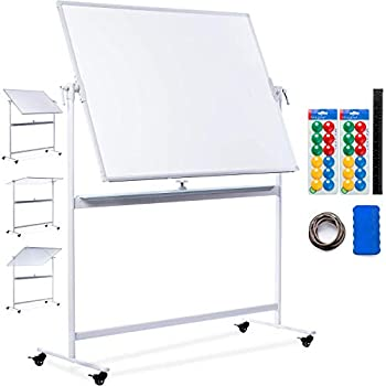 Mobile Whiteboard | 48x36 Large Rolling Whiteboard Planner with Stand on Wheels - Dry Erase Mobile Magnetic Classroom White Board Double Sided + 24 Dots, 10 Gridding Tapes, Ruler, Eraser