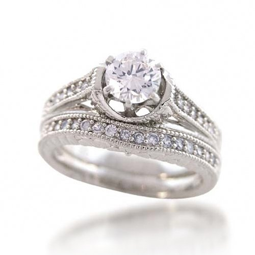 Bling Jewelry 1.5-ct CZ Sterling Silver Vintage Engagement Wedding Ring Set