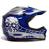 TMS® Youth Blue/silver Skull Dirt Bike Motocross Helmet Mx (Small)