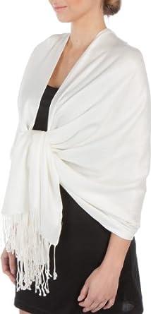 "78 x 28"" Silky Soft Solid Pashmina Shawl / Wrap / Stole - Ivory"""