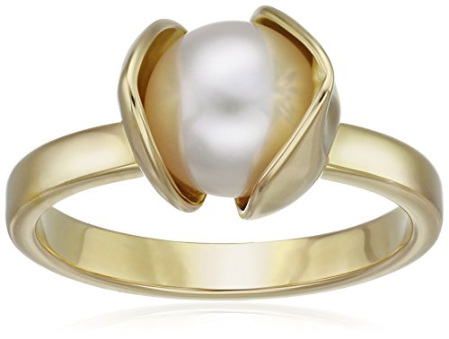 House-of-Eleonore-Paradise-18k-Yellow-Gold-Orchid-Plain-Pearl-Ring-Size-7