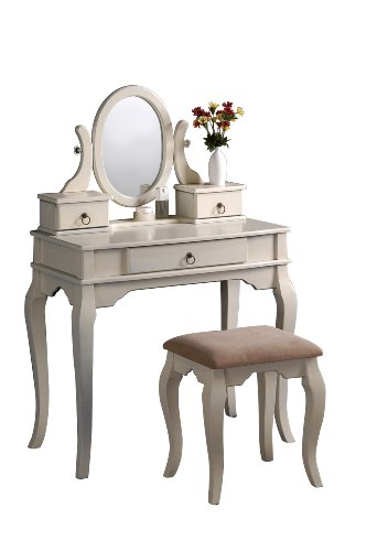 Bobkona Rylan Vanity Set with Stool, Antique White