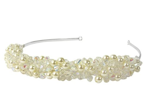 Faux Pearl & Clear Cluster Beaded Brides Tiara