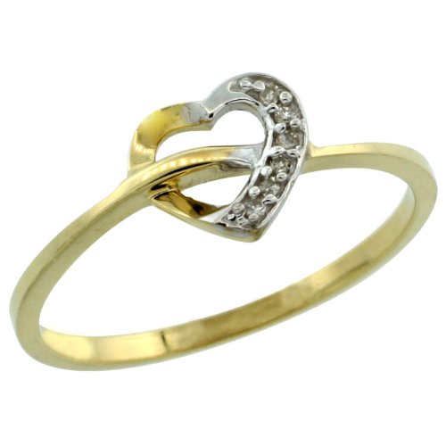 14k Gold Heart Cut Out Diamond Engagement Ring w/ 0.022 Carat Brilliant Cut Diamonds, 1/4 in. (7mm) wide, size 6.5