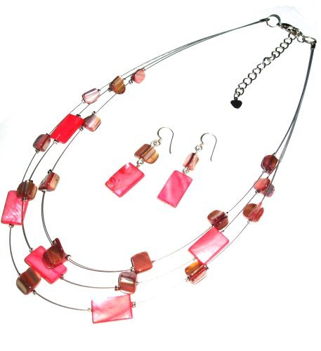 Tribe Red Shell Oblong Necklace & Matching Earrings