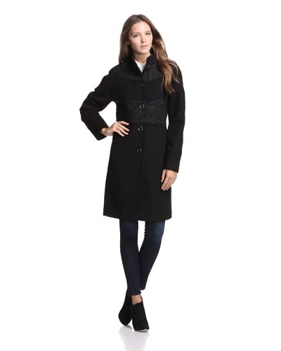 Jones New York Women's Tweed-Trimmed Coat  [Black]