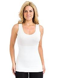 Teez-Her The Skinny Shaper Tank, White, XLarge