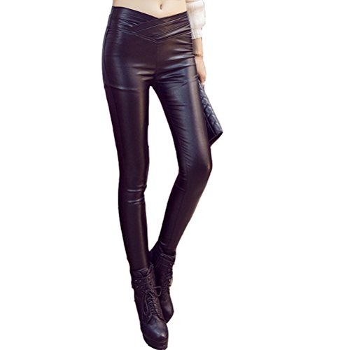 Laixing Fashion Women's Sexy Soft Faux Leather Pants Stretch Leggings Trousers 8948