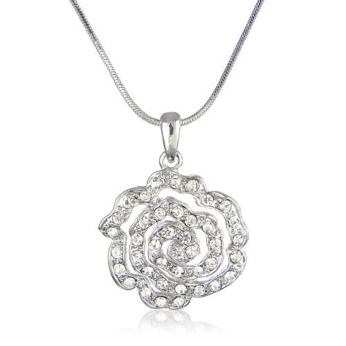 Dazzling Flower Encrusted Diamante Necklace -